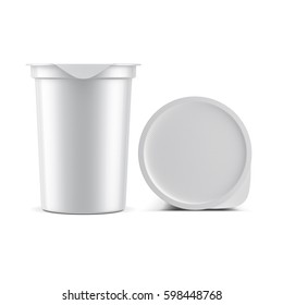 White Sour Cream Yogurt plastic Cup with Silver Foil Lid Mockup, Cover top view, 3d rendering
