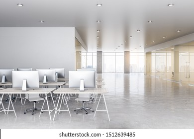 White spacious office interior with city view, copy space and daylight. Workplace and corporation concept. 3D Rendering