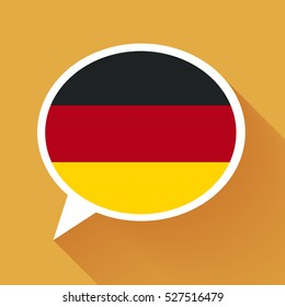 White speech bubble with Germany flag and long shadow on orange background. German language conceptual illustration.