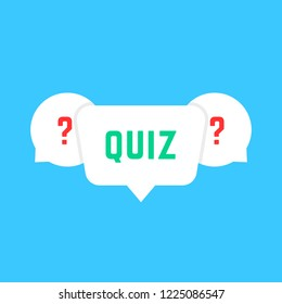 white speech bubbles with quiz. concept of solution survey, choose, game time, inquirer, issue, problem solve, quizz. flat style trend modern logotype design art illustration on blue background