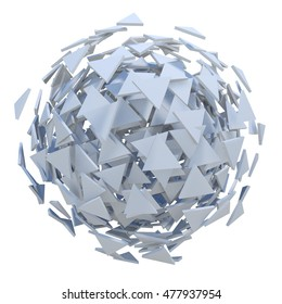 White sphere exploded to polygons 3D rendering.