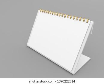 White spiral calendar mockup on gray background. 3d render illustration.