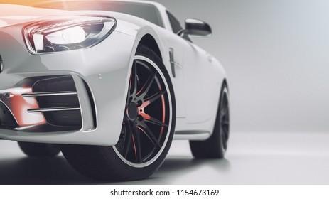 White sports car. 3d render. illstration.