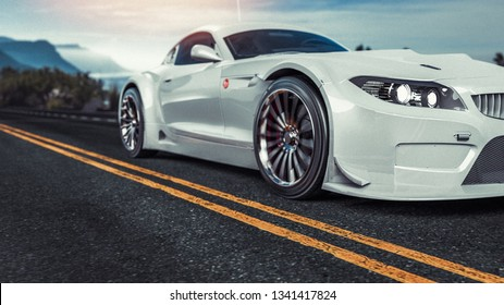 White sports car. 3d render and illustration.