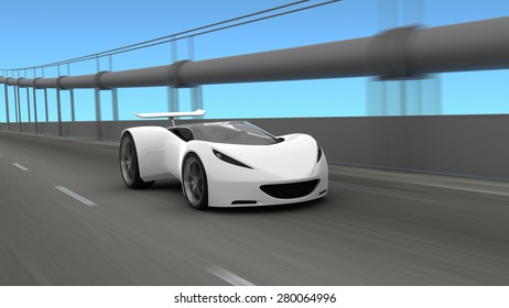 White sports car on roadway, 3D render