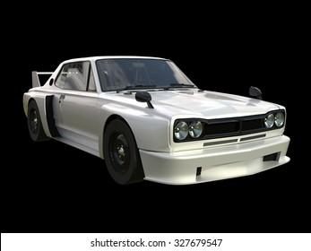 White sports coupe. White race car. Retro race. Japanese School tuning. Uniform black background. Three-dimensional model. Raster illustration