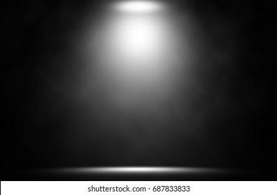 White spotlight on stage entertainment backdrop.