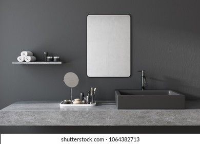White square bathroom sink with a mirror hanging above it in a black bathroom. A make up shelf and mirror. 3d rendering
