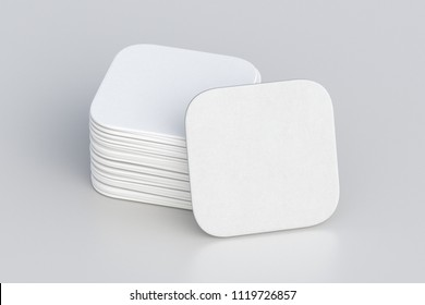 White square beer coasters on white background with clipping path around coasters. 3d illustration