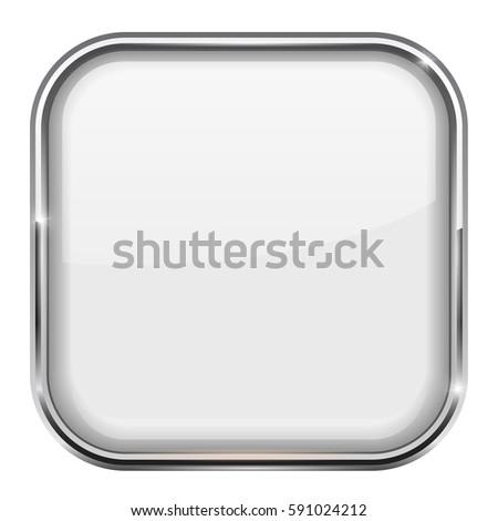 White Square Button Shiny Icon Metal Stock Illustration - Royalty ...
