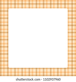 white square frame in plaid pattern trendy brown color pastel soft background, square frame for summer sale banner and advertising copy space, vintage square frame on tartan plaid colorful light