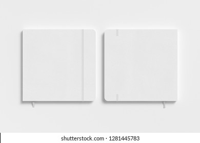 White square notebook with elastic band on white background. Front and back cover. 3d illustration