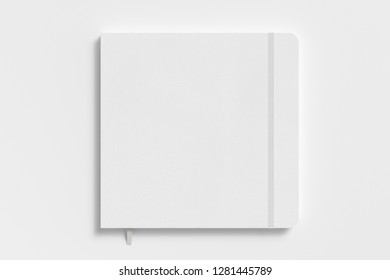 White square notebook with elastic band on white background. 3d illustration
