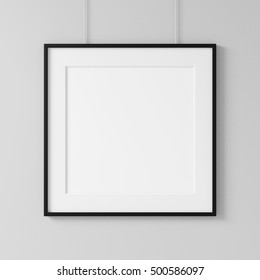 White square poster with black frame Mockup hanging on the wall, 3d rendering