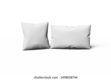 White square and rectangular a mocap pillow on a gray background. 3D rendering.