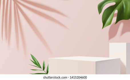 White square stage with tropical plants on pink background in 3d illustration