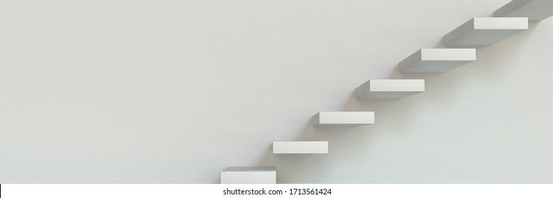 white stairs in the interior on a light wall. 3D render.