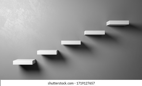 White Stairs Steps Against a Gray Wall with Copyspace 3D Illustration