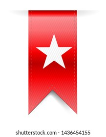 white star over a red banner illustration isolated over a white background