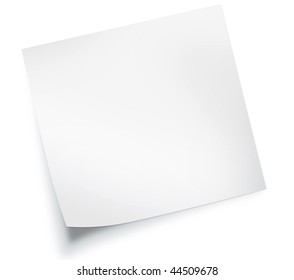 White sticky note isolated on white