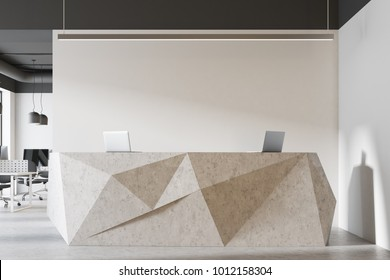 White stone reception in a modern office with a concrete floor and white walls. Rows of computer desks. A close up 3d rendering mock up