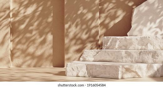 Las placas de piedra blanca pisaron el podio del producto. Copiar el fondo pastel del espacio con sombras de sombrilla. Escena de simulación para la presentación del producto. Ilustración 3D.