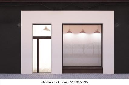 white storefront mockup 3d rendering