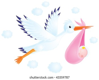 White stork delivers the newborn to his parents