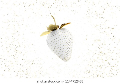 White Strawberry With Gold Leaves Floating In the Air Among Gold Seed. 3D Render