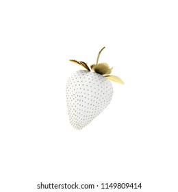 White Strawberry With Gold Leaves And Seed. 3D Render