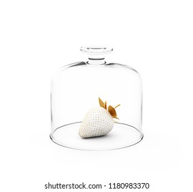 White Strawberry With Gold Leaves Under Glass Plate Cover, Over White Background. 3D Render