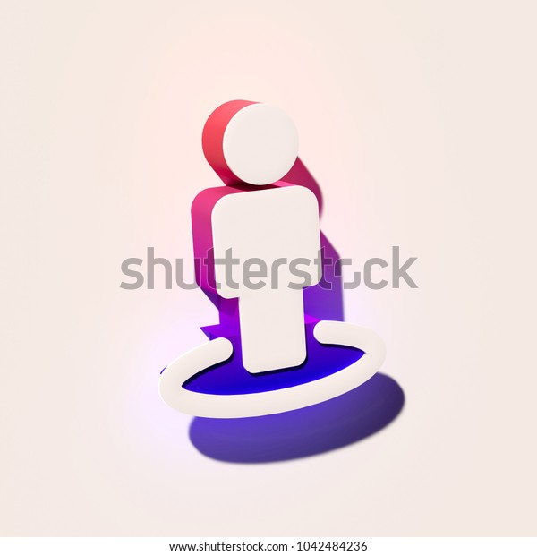 White Street View Icon. 3D Illustration of White Around, Center, Human, Location, Map, Radius, Street Icons With Pink and Blue Gradient Shadows.
