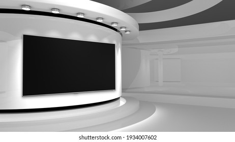 White Studio. Screen on wall. White background. White back drop. 3d rendering