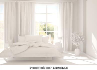 White stylish minimalist bedroom in hight resolution. Scandinavian interior design. 3D illustration