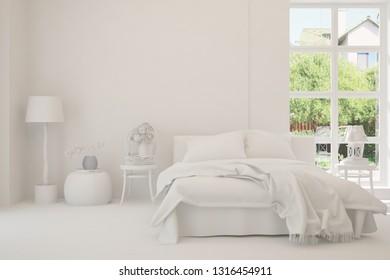 White stylish minimalist bedroom with summer landscape in window. Scandinavian interior design. 3D illustration