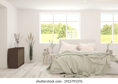 Elegante dormitorio blanco minimalista con paisaje de verano en la ventana. Diseño interior escandinavo. ilustración 3D