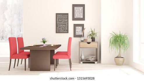 White stylish minimalist dinner room in hight resolution with winter landscape in window. Scandinavian interior design. 3D illustration