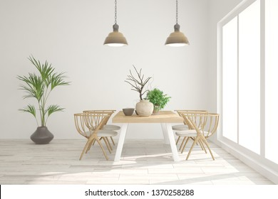 White stylish minimalist kitchen. Scandinavian interior design. 3D illustration