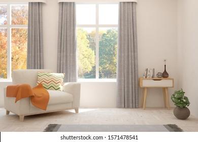 White stylish minimalist room with armchair and autumn landscape in window. Scandinavian interior design. 3D illustration
