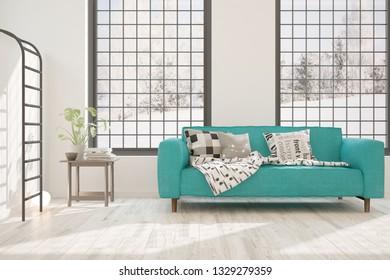 White stylish minimalist room with blue sofa and winter landscape in window. Scandinavian interior design. 3D illustration