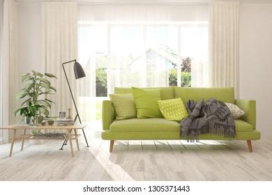 White stylish minimalist room with green sofa. Scandinavian interior design. 3D illustration