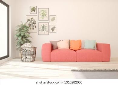 White stylish minimalist room in hight resolution with coral sofa. Scandinavian interior design. 3D illustration