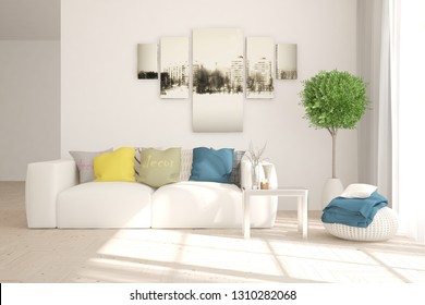 White stylish minimalist room in hight resolution with colorful sofa. Scandinavian interior design. 3D illustration