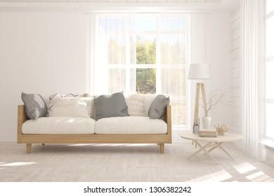 White stylish minimalist room with sofa and autumn landscape in window. Scandinavian interior design. 3D illustration