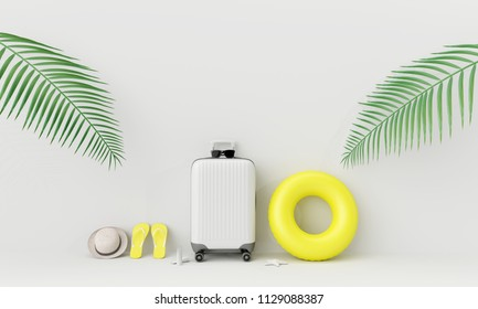 White suitcase with beach accessories and coconut leaves on white background. summer travel concept .3d render