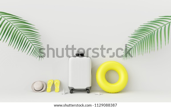 White suitcase with beach accessories and tropical palm leaves on white background. summer travel concept .3d render