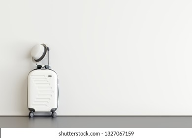White suitcase with hat and sunglasses  in airport departure lounge. Travel concept. 3d rendering