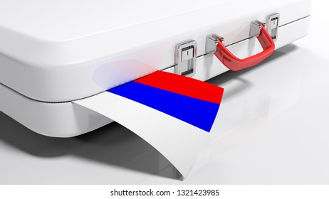 White suitecase with russian flag - 3D rendering illustration