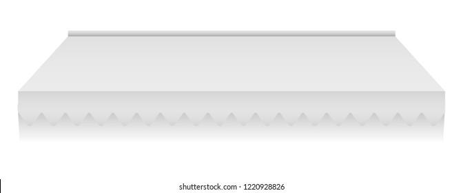 White sunshade mockup. Realistic illustration of white sunshade mockup for web design isolated on white background