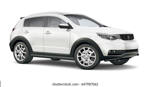 White SUV car - 3D render on white